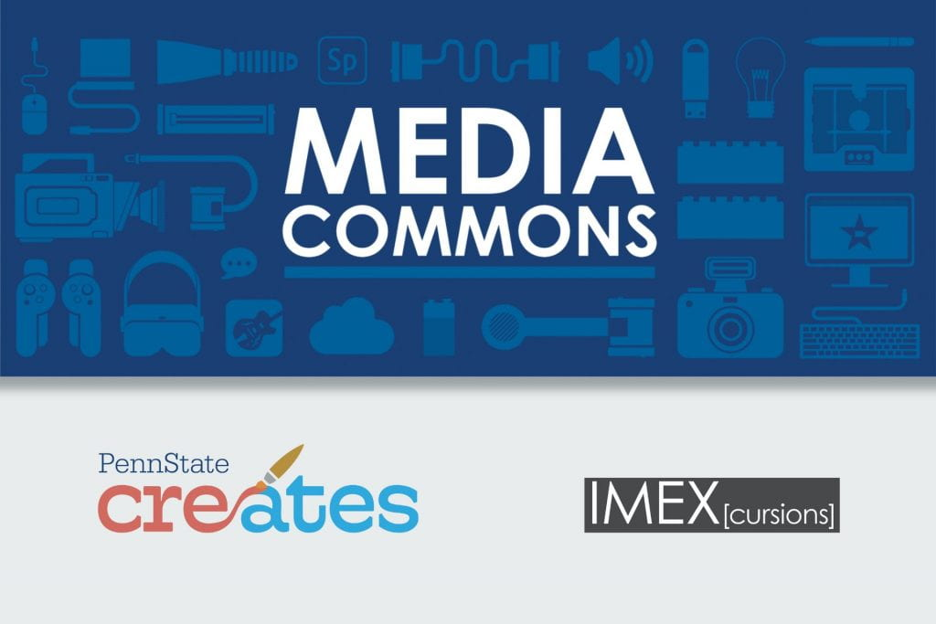 logos for media commons, penn state creates, and IMEX cursions