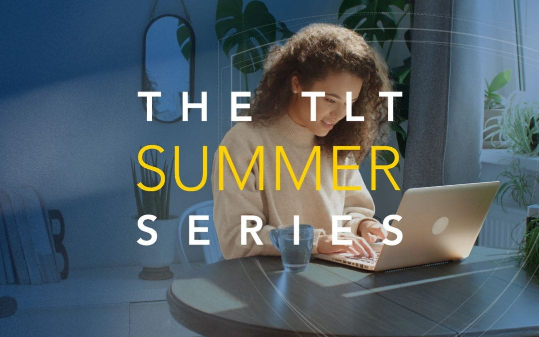 TLT Summer Series text overlay with woman working on laptop